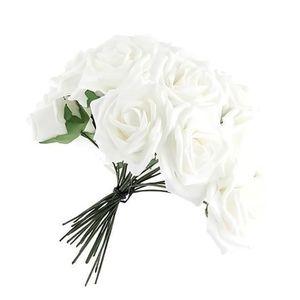 Rose blanche artificielle achat vente rose blanche for Soldes fleurs artificielles