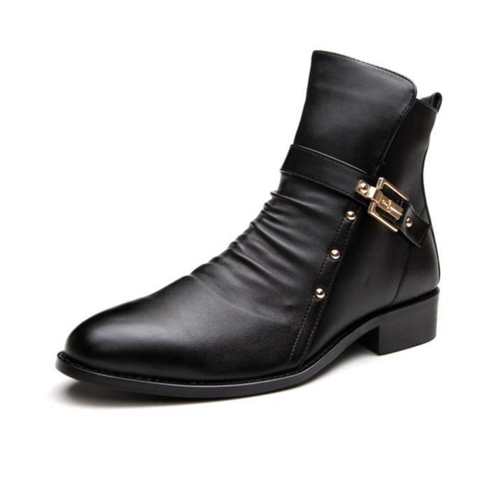 HUIXIN®bottes d'hiver véritable les bottes en cuir chaussures rétro - martin