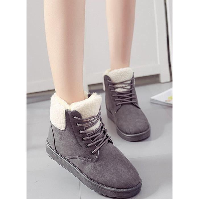 Tomwell Femmes Mode Martin Bottes Hiver Chaud Chaussures En Coton Bout Rond Bottes De Neige Lace Up Bottes h0T8cGjiq
