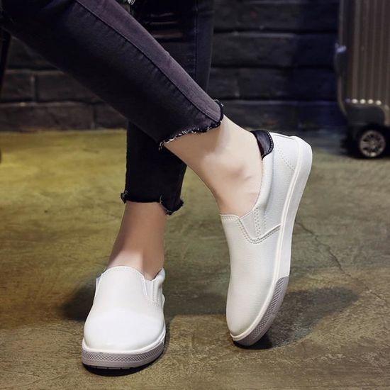 Mesdames Femmes Out Sport Chaussures plateforme bout Chaussures rond plat Slip talon Chaussures bout Casual  Noir Noir Noir - Achat / Vente slip-on a2fc4c