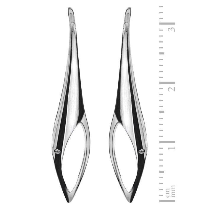 Lily & Lotty - Boucles Doreilles - Argent - Plaqué Rhodium Argent - 925-1000 - Blanc - Diamant - Femme GEFIY