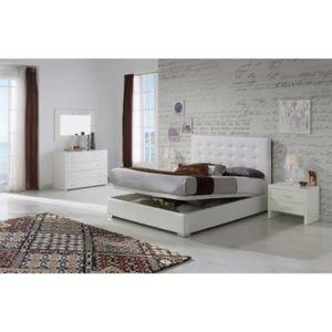 STRUCTURE DE LIT Lit coffre GRANTI 140x190-200cm en PU blanc - L 20