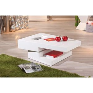 Table basse rectangulaire salon pivotant moderne m achat vente table d 39 appoint table basse for Table basse pivotant
