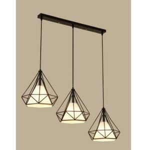 LUSTRE ET SUSPENSION Lustre Suspension Industrielle de 3 lamps barre Vi