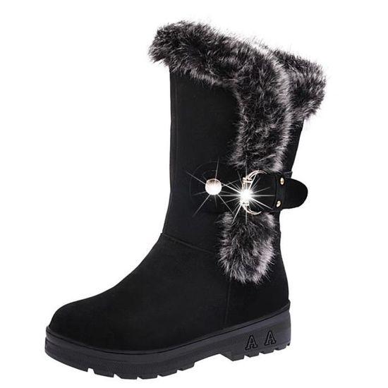 Bottes femme Slip-On doux Bottes de neige bout rond Bottes plates d'hiver de fourrure cheville LHB5308 Noir Noir - Achat / Vente slip-on