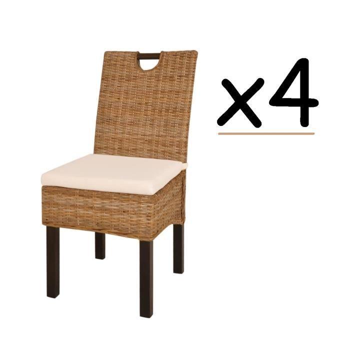 Ensemble de 4 chaises de salle à manger en Bois de Manguier Rotin ...