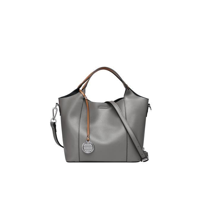 Style vintage en cuir véritable épaule sac à main avec Séparables sac à lintérieur YYFA9