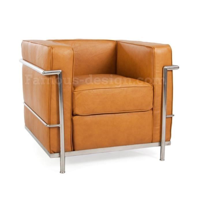 lc2 fauteuil le corbusier caramel achat vente. Black Bedroom Furniture Sets. Home Design Ideas