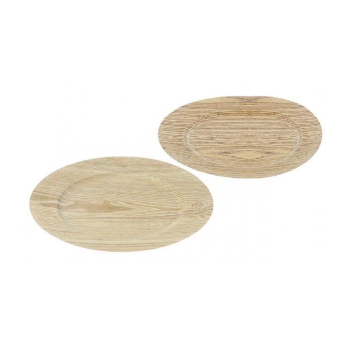 Set de 2 Assiettes de Présentation Motif Bois - 33cm 0,000000 ...