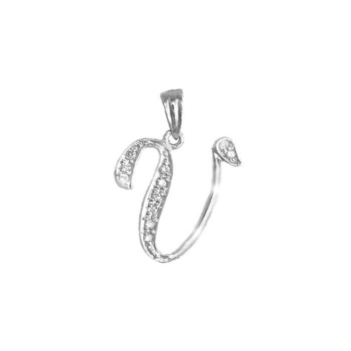 Jewelco London Or Blanc 9k Diamant Script DIdentité Charme didentification initiale Pendentif, Lettre V