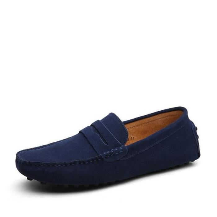 Moccasin homme en cuir Nouvelle Mode 2017 marque de luxe chaussure Respirant Poids Léger Loafer Grande Taille chaussures hommes 44 UUp17u9h