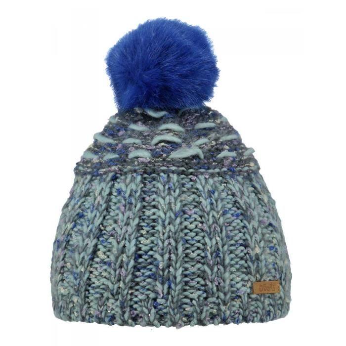 e718f7869d0 BARTS - Bonnet à pompon maille chiné bleu Enfant Fille 3 au 10 ans Barts