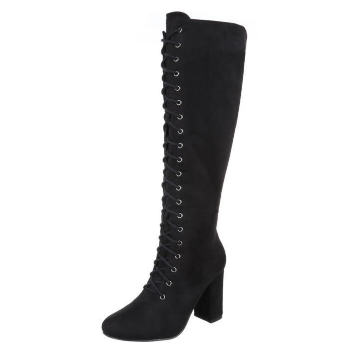 Bottes élégantes   femmes bottes   élégantes Bottes de pointe  Bottes à lacets   bottes hautes  Bottes d'optique en cuir   bottes