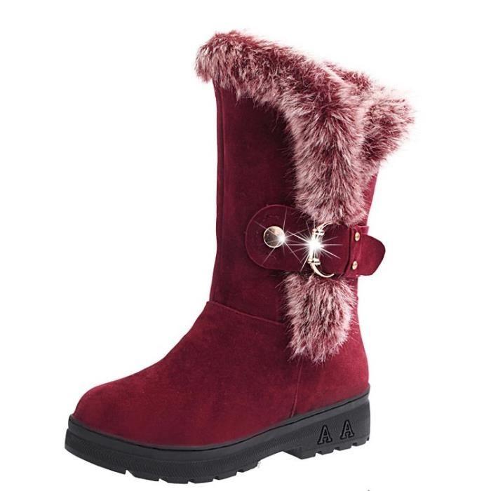 Femmes Bottes 2017 Bottes de neige Talons hauts Chaussures femme Bottes hiver Wedges Martin Bottes Chaussures,rouge,38