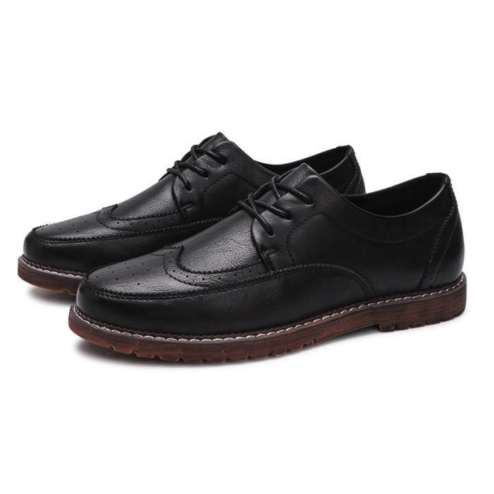 JOZSI Chaussures Hommes Cuir Qualité Supérieure Respirant Homme chaussure de ville ZX-XZ204Noir38