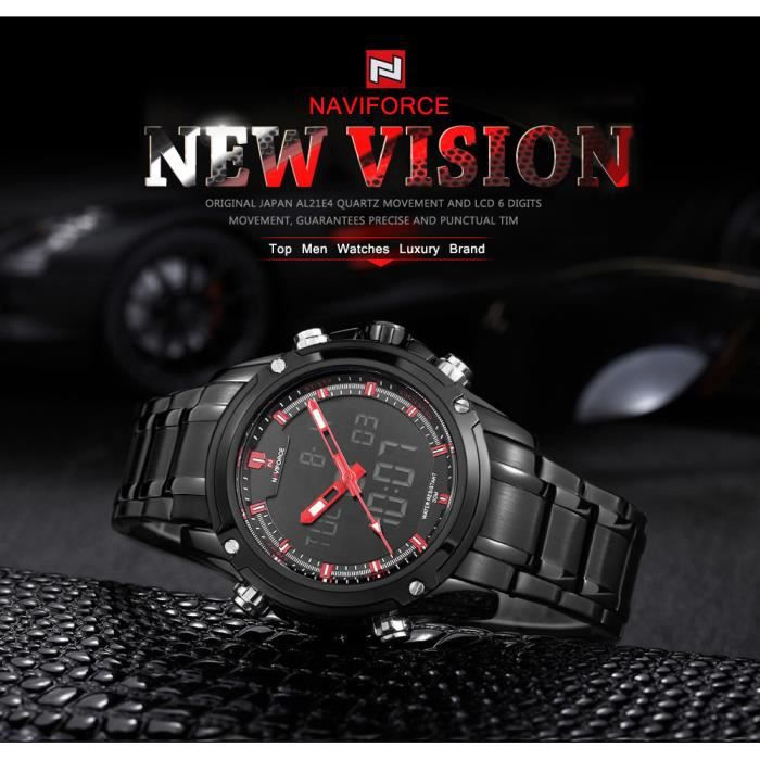 pas cher toujours populaire style attrayant Montres Hommes Luxe Marque NAVIFORCE 9050 Montz Horloge Homme Analogique  Digital LED Army Military Watch