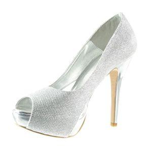Angkorly - Chaussure Mode Sandale Escarpin Peep-Toe ouverte femme brillant Paillettes Talon haut bloc 11.5 CM - Argent - B7710 T 38 30zwbdtNYx