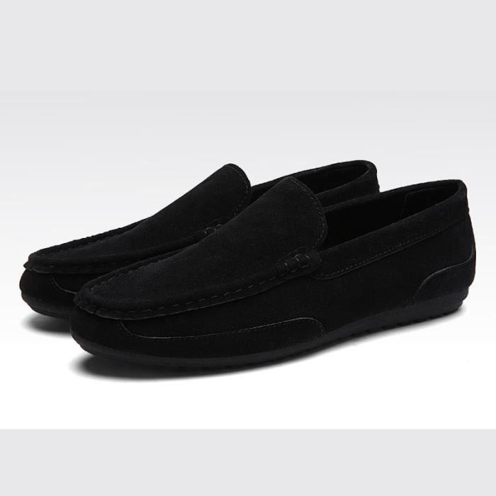 Nubuck Mocassins Homme mode de conduite chaussures Noir