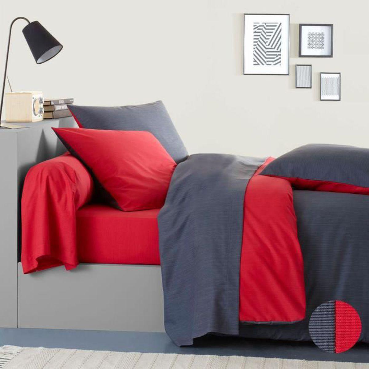 housse de couette gris et rouge achat vente pas cher. Black Bedroom Furniture Sets. Home Design Ideas