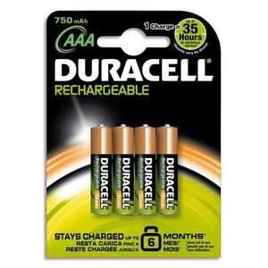 PILES Duracell - Blister 4 accu rechargeables AAA 1,2V