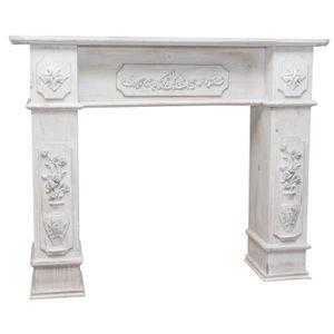MEUBLE TV Cadre cheminée en bois finition blanche vieillie a
