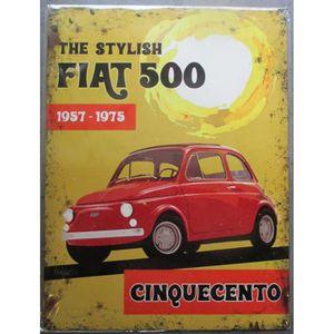 OBJET DÉCORATION MURALE plaque the stylish fiat 500 affiche tole déco meta