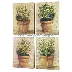 TABLEAU - TOILE 4 Tableaux Cadres en Bois Peint Plantes Aromatique