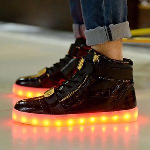 2016 Nouveaux Colorful LED chaussures lumineuses hommes et femmes unisexes populaires recharge USB chaussures légères incandescentes qzU6I9