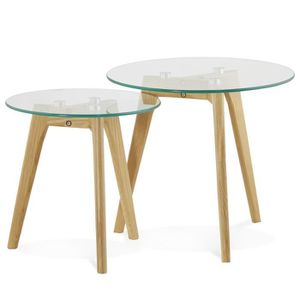 TABLE BASSE Set de 2 Tables basses scandinave ronde en verre