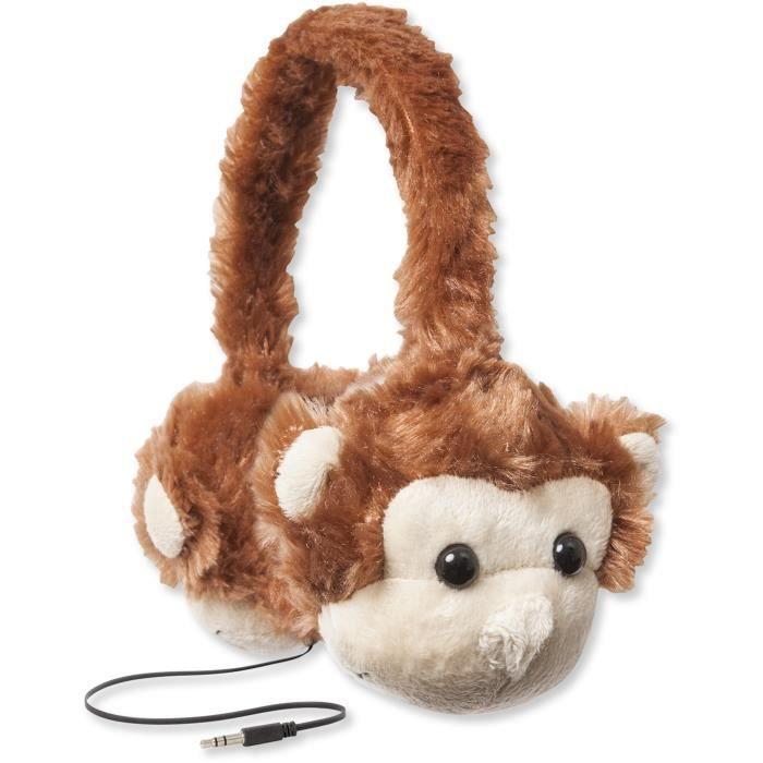 RETRAK ANIMALZ Casque audio Enfant avec câble rétractable - SINGE