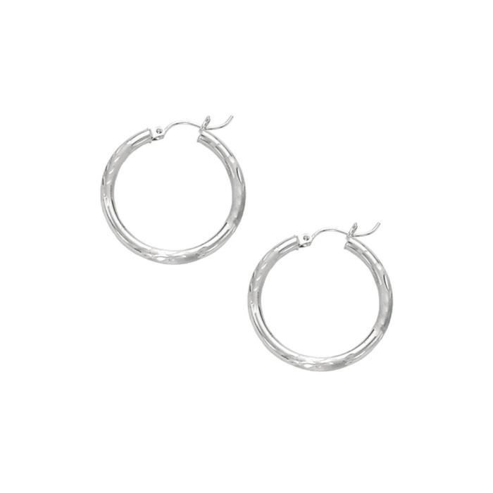 Or blanc 14 carats 3 mm-Boucles doreille