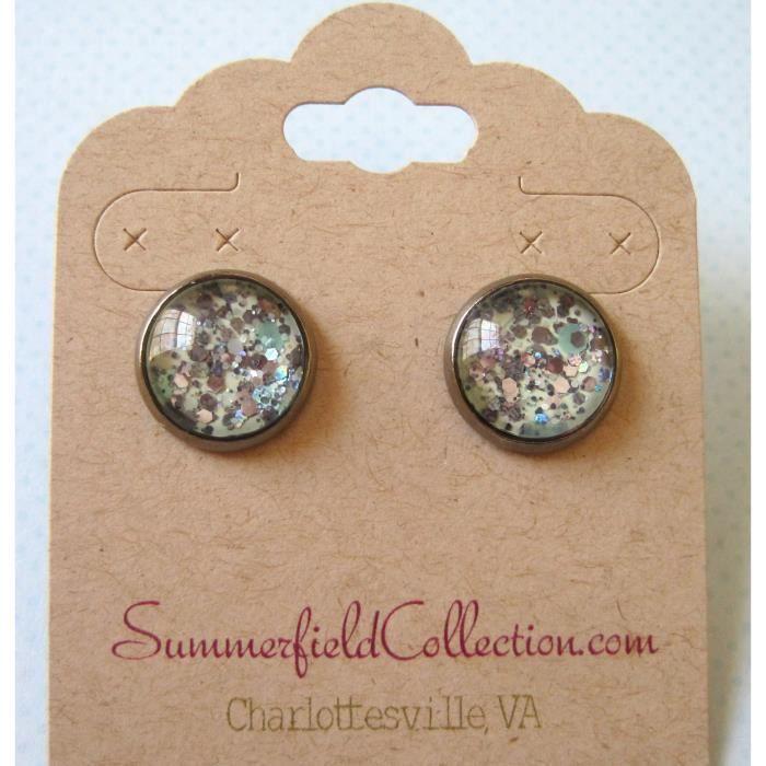 Craze Hématite-Tone Mint Green Et Argent Glitter verre Boucles doreilles 1/2 rond