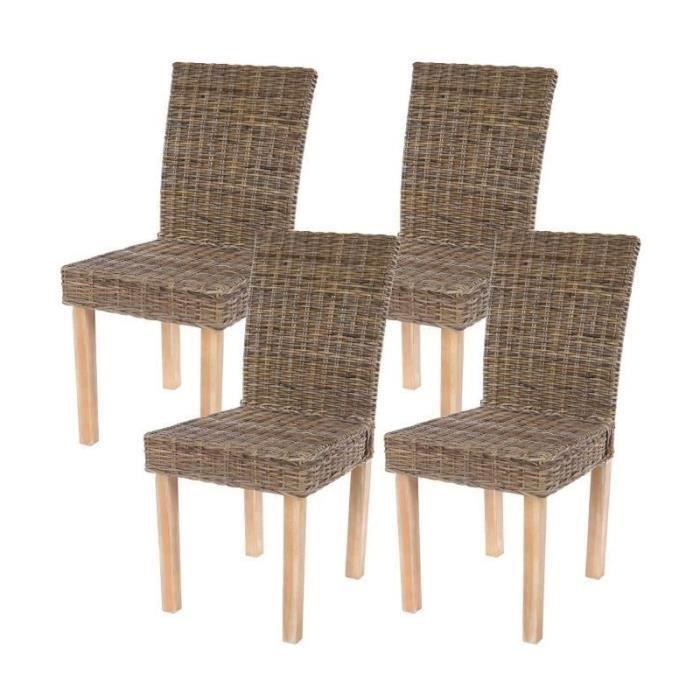 Lot de 4 chaises de salle manger en rotin kubu gris for Chaise de salle a manger en rotin