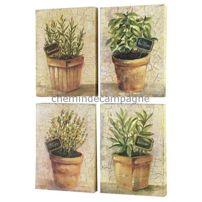 4 Tableaux Cadres En Bois Peint Plantes Aromatiques 35X35 Cm 22 Cm