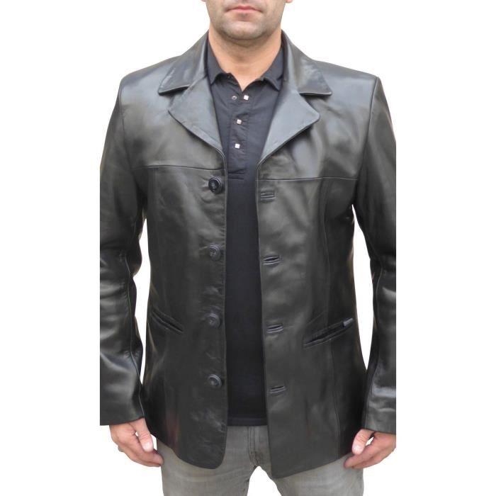 Veste classique en cuir pour homme