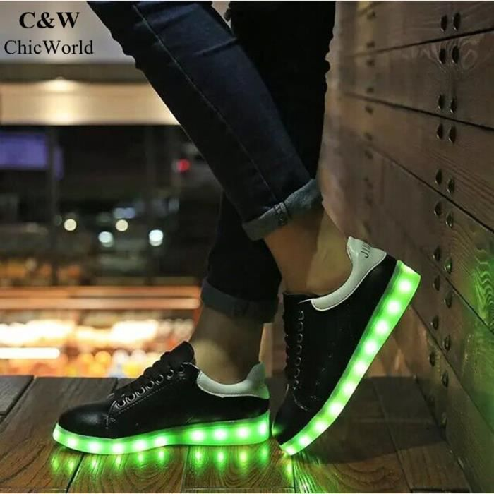 Chaussures Hip Hop USB Charge 7 Couleurs Glow Chaussures Éclairage LED Femme Chaussure Lumineuse Sport Basket
