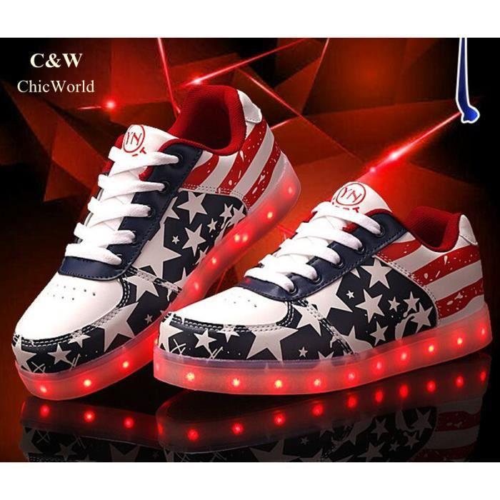 Mode Classique 7 Couleurs Éclairage LED Couple Chaussure USB Charge Homme et Femme Chaussure Lumineuse Fluorescence Sneaker Basket