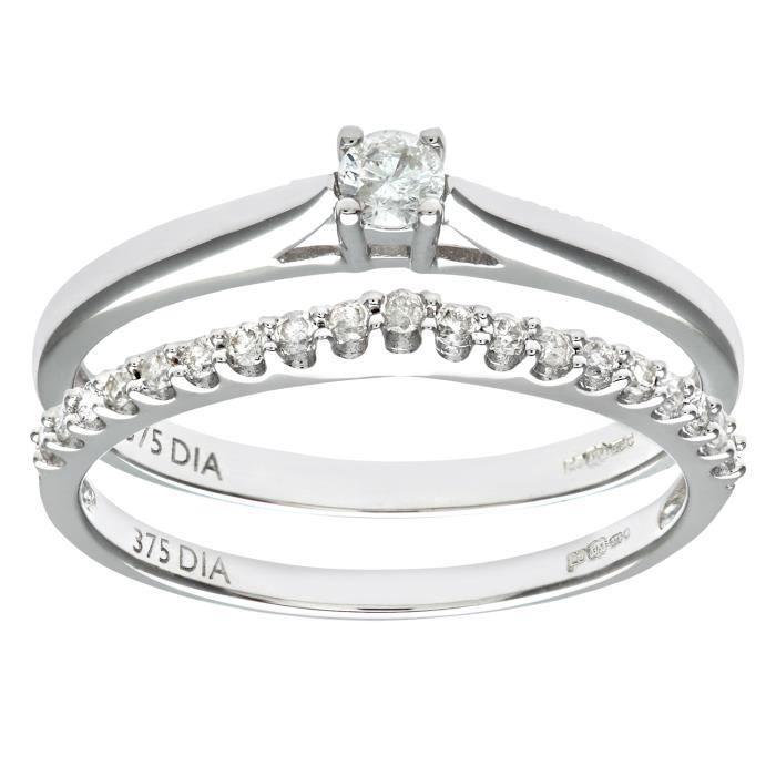 Revoni Bague Diamant Or Blanc 375° Femme: Poids du diamant : 0.25 ct - CD-PR08560W-P