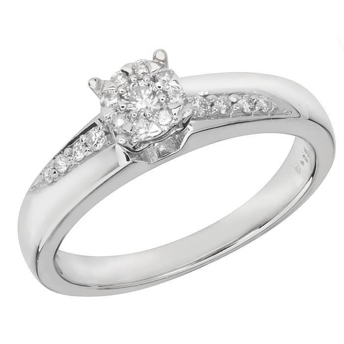 Bague Femme Or Blanc 375-1000 et Diamant Brillant 0.19 Carat G - I1 I2