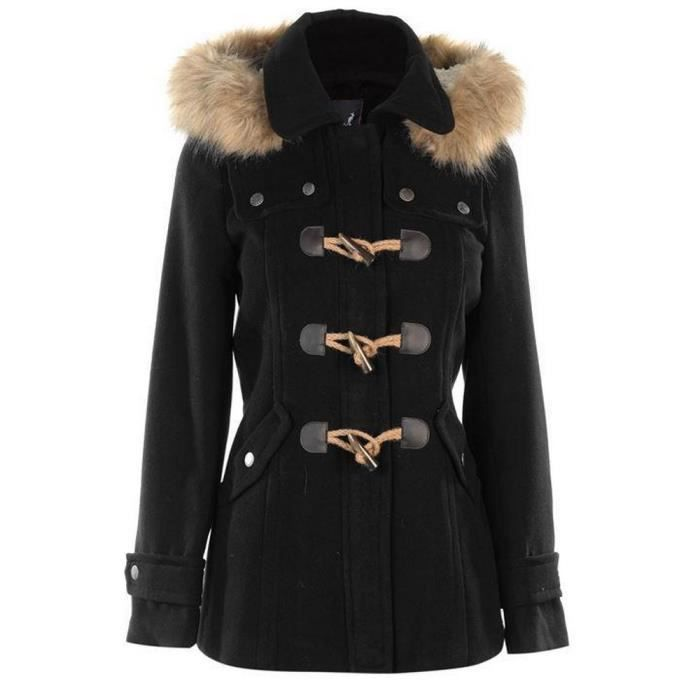 duffle coat brandebourgs a fourrure kangol femme 2018 noir noir noir achat vente manteau. Black Bedroom Furniture Sets. Home Design Ideas