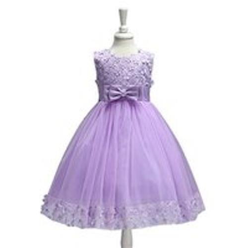 Enfant Bébé Fille Robe de Mariée Fleur Robe de Princesse Mariage Tutu - Violet 140cm 39