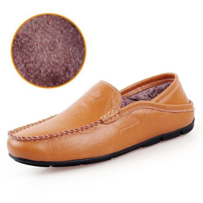chaussures homme perforé En Cuir Plus chaussures en cachemire Moccasin Marque De Luxe Moccasin Grande Taille Loafer Nouvelle Mode
