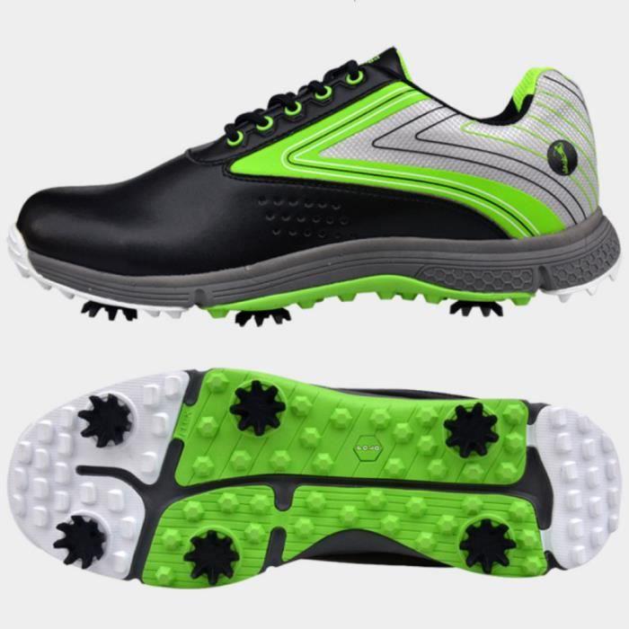 Chaussures De Golf Pour Hommes, Crampons Anti dérapants, Chaussures Imperméables Et Respirantes, Chaussures De Sport (vert & Noir)