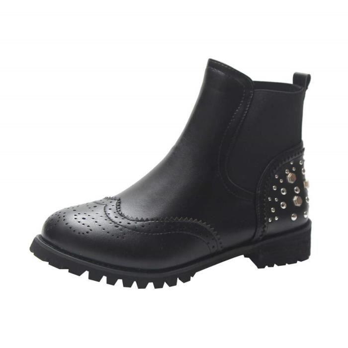 4d358347c1fd82 Bottines Chelsea Ankle Boots Femme Bottines Vernis Noir Sportif Et éLéGant  SéCurité Plateforme Mi-Hauts avec Tige Courte