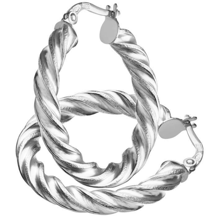 Revoni - Boucles doreilles anneaux torsadés en or blanc 9 carats et diamants taillés, diamètre 20 mm et tube 0,3 cm