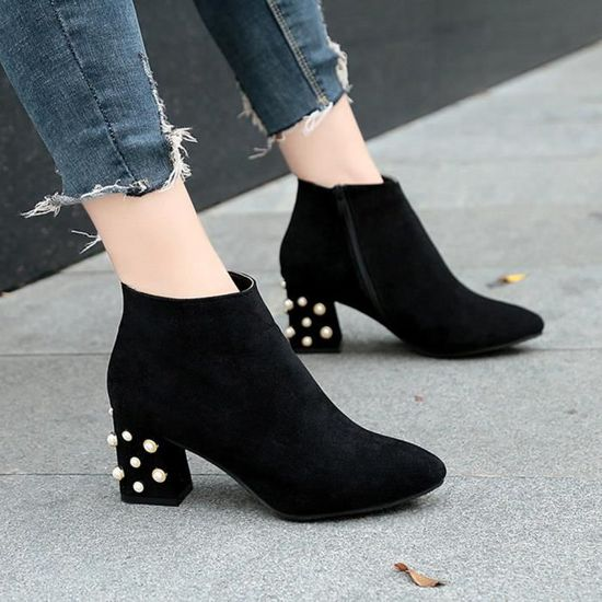 Perle Spring Cheville Femmesmodehall7742 Talon Shoes De Bottes Casual Décoration Carré ym8PNOvn0w
