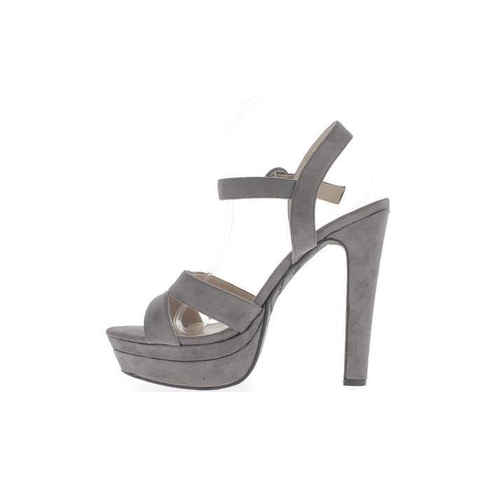 Sandales grises grande taille