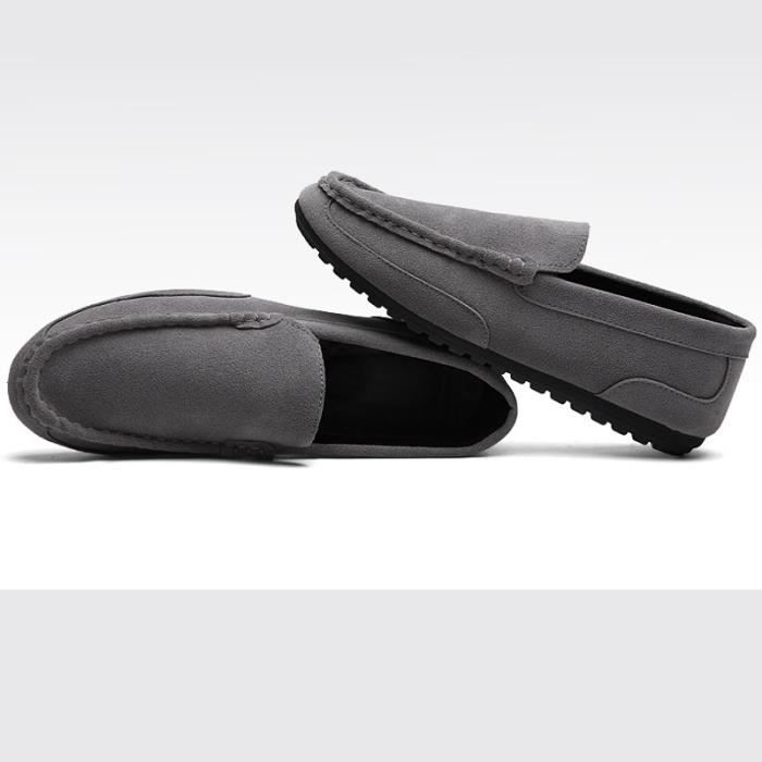 Casual Driving Chaussure Homme Simple Style Nubuck Mocassins Gris
