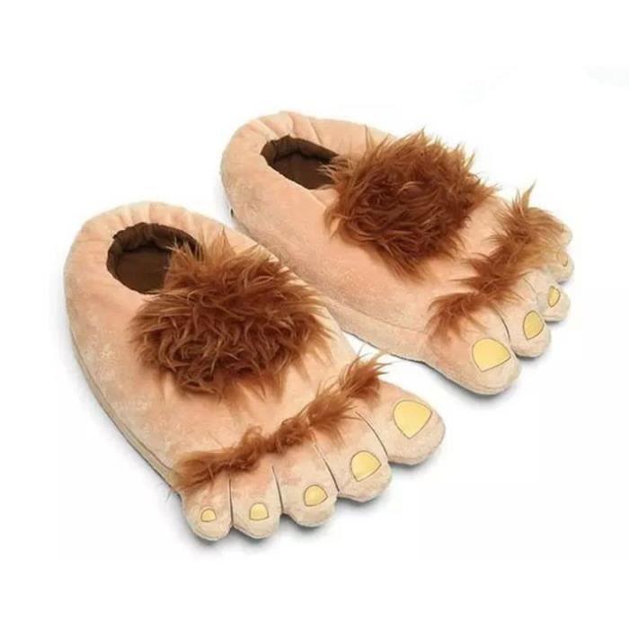 Pantoufles en coton en forme des pieds de sauvage