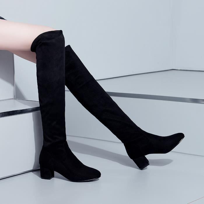 Femme Botte Longue Classique Eté Automne - Noir